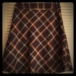 East 5th Woman's 6 Fully Lined Brown Plaid Skirt